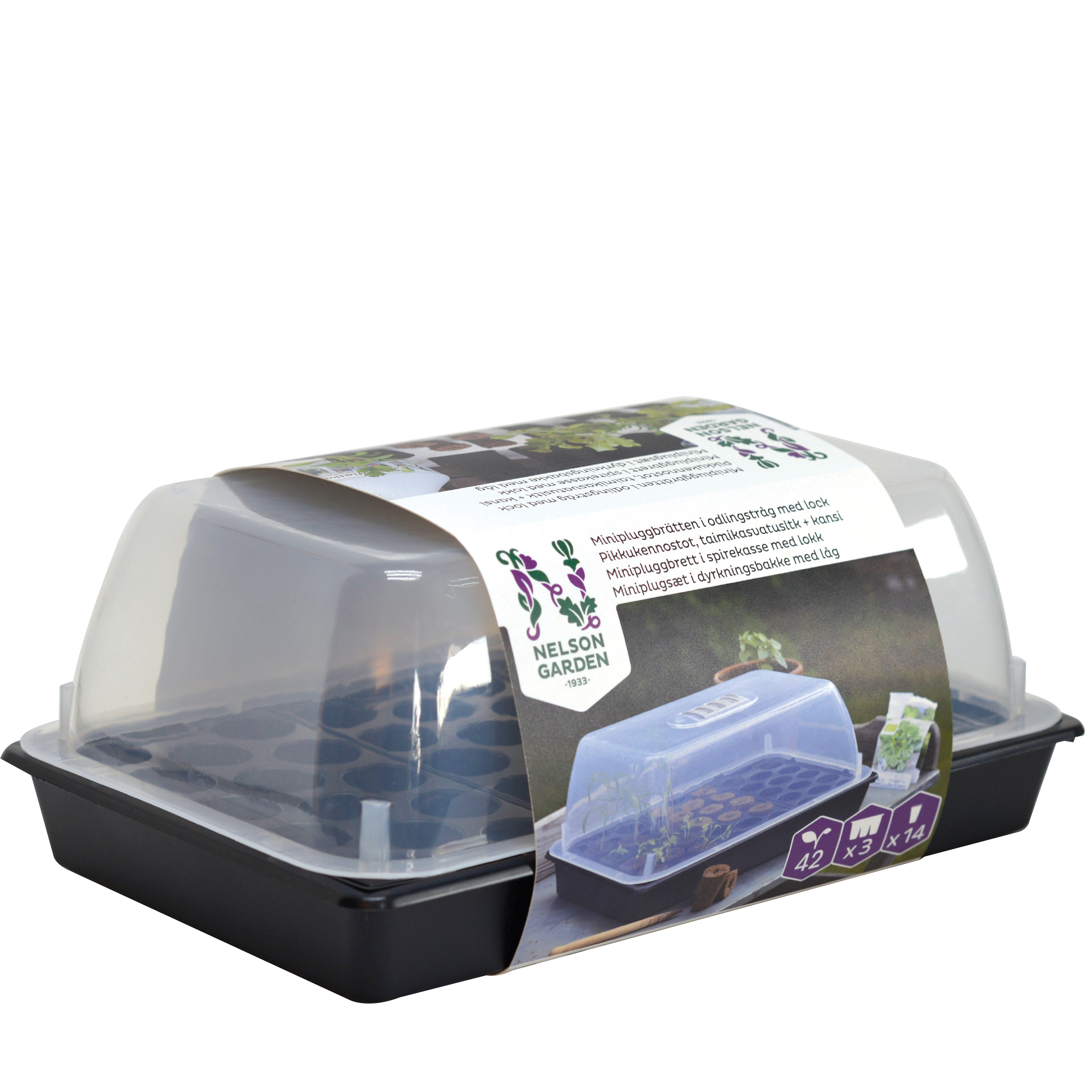 Produktbild på Minipluggbrätten i odlingstråg med lock